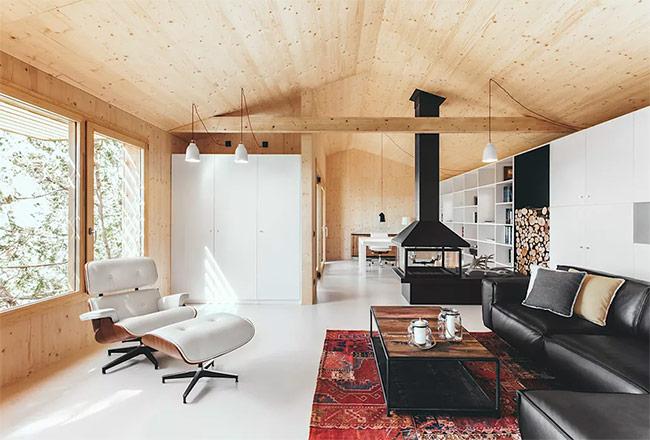 Sự kết hợp ăn ý giữa mái nhà và tường gỗ cùng với sàn gạch. Nên lựa chọn loại gỗ phù hợp với điều kiện khí hậu nơi bạn ở.