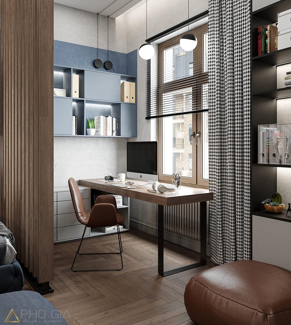 Thiết kế nội thất quận 7 Phòng ngủ con trai với Gam màu xanh chủ đạo khiến cho căn phòng trở nên bắt mắt