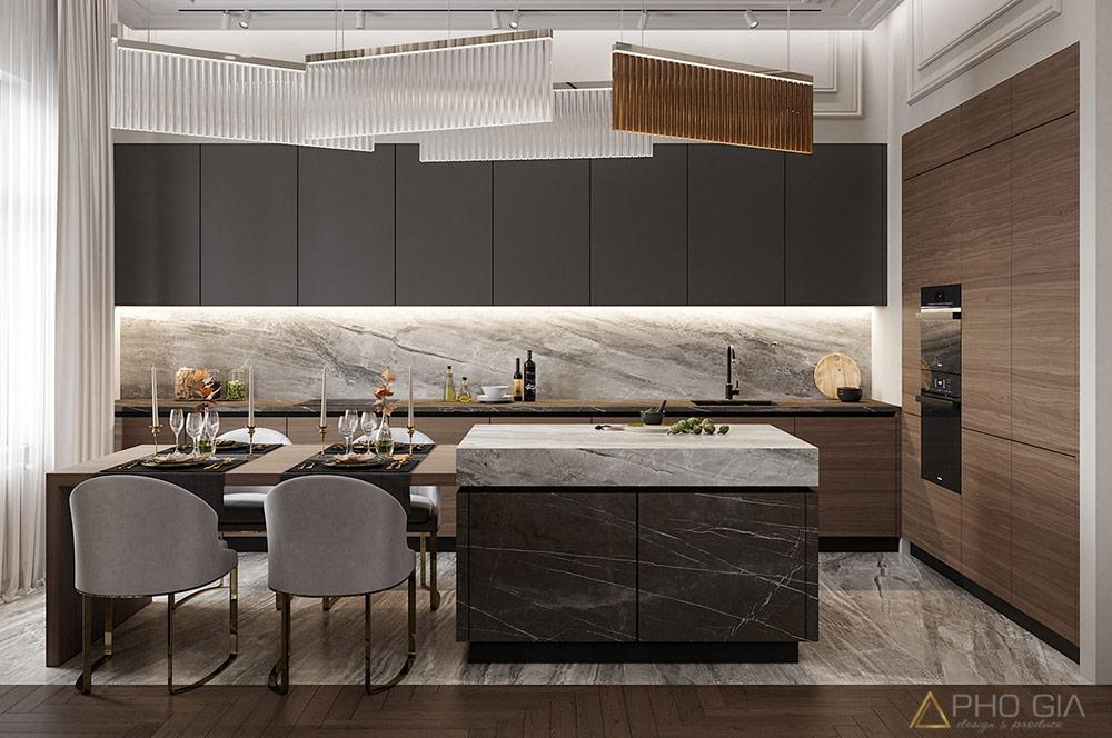 Thiết kế nội thất quận 7 ánh sáng kết vợp với độ bóng của vật liệu càng làm cho khu vực nơi đây thêm sang trọng và tinh tế