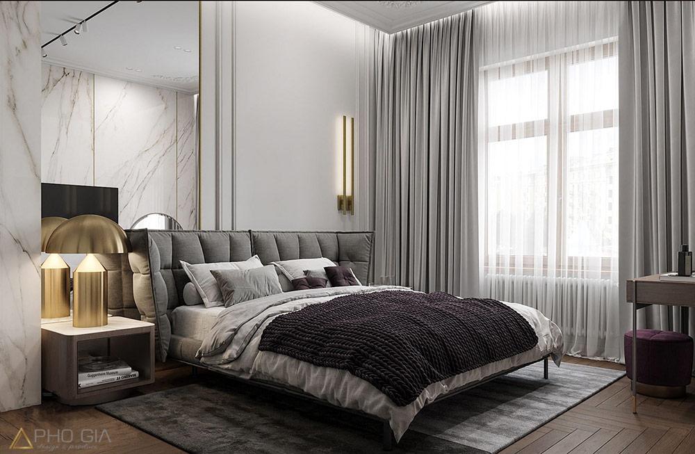 Thiết kế nội thất quận 7 Phòng ngủ master với chất liệu đá tự nhiên lặp lại kết hợp với mảng gương thủy phía sau giúp căn phòng trở nên thanh thoát và nhẹ nhàng