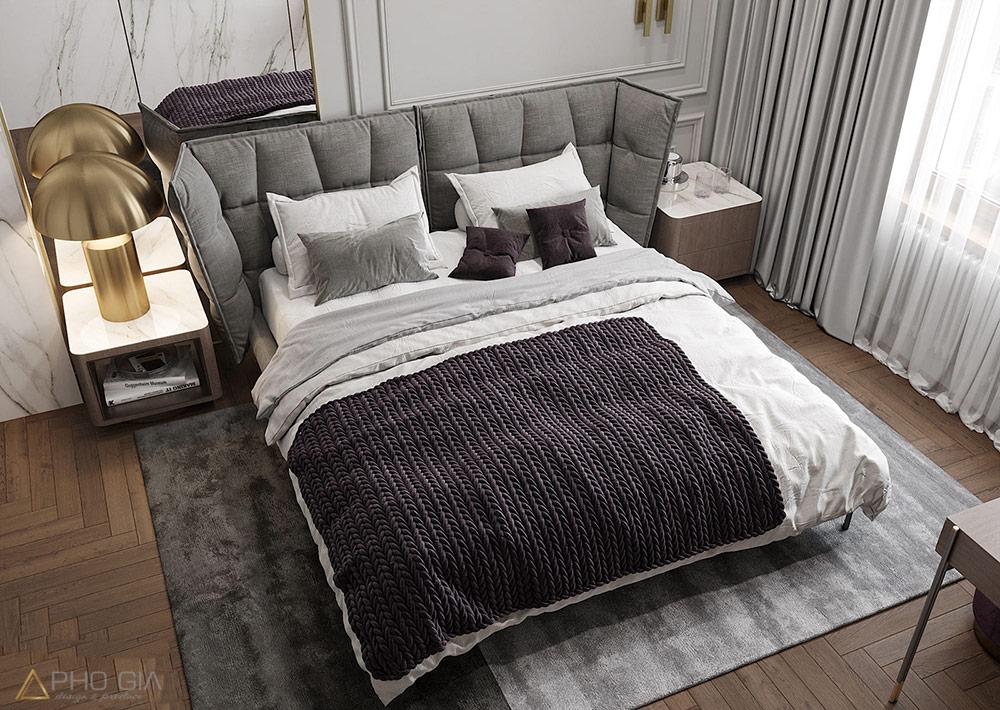 Thiết kế thi công nội thất quận 7 Phòng ngủ master với chất liệu đá tự nhiên lặp lại kết hợp với mảng gương thủy phía sau