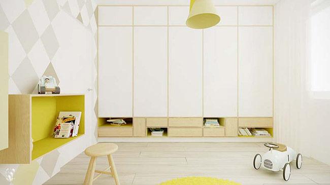 Vẫn thường được biết đến với những gam màu đen – trắng – xám nhưng việc sử dụng thêm những gam màu tươi sáng là hoàn toàn có thể khi thiết kế phòng cho trẻ.
