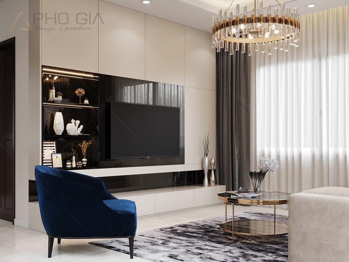 thiết kế nội thất phòng khách tuyệt đẹp căn hộ chung cư xi grandcourt