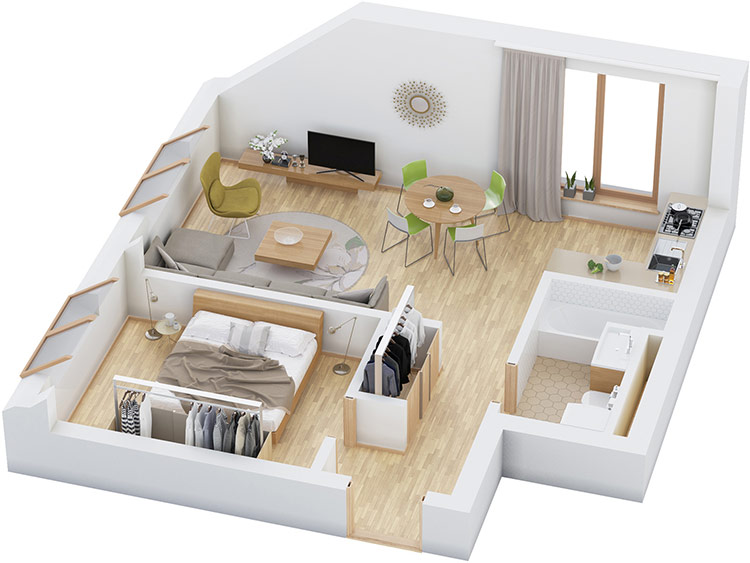 Thiết kế nội thất nhà cấp 4 với 1 phòng ngủ, 1 toilet, 1 nhà bếp, 1 phòng khách