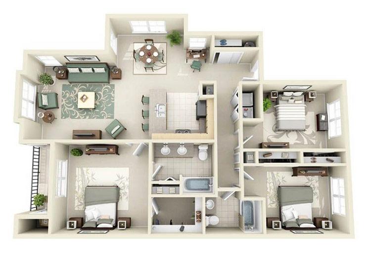 Thiết kế nội thất nhà cấp 4 với 3 phòng ngủ, 2 toilet, 1 phòng khách, 1 nhà bếp
