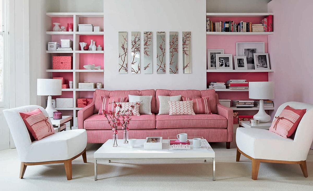 """Kết quả hình ảnh cho phòng khách màu hồng"""""""