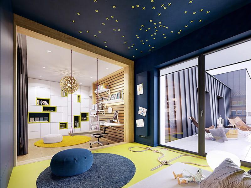 Trong khi đó phòng của trẻ là một không gian độc lập, với bảng màu vàng và màu xanh dương.