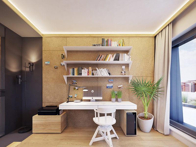 Bên cạnh phòng bé là bàn làm việc của bố mẹ.