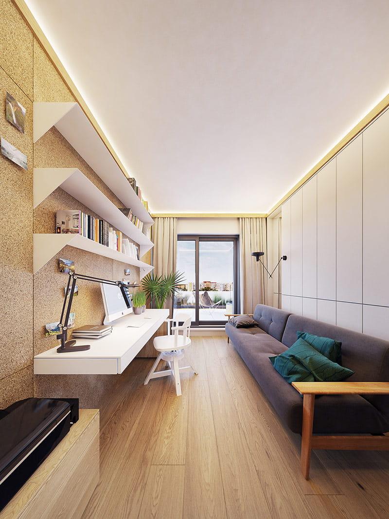 Một chiếc ghế sofa dài để chủ nhân có thể thư giãn hoặc làm giường ngủ tạm.