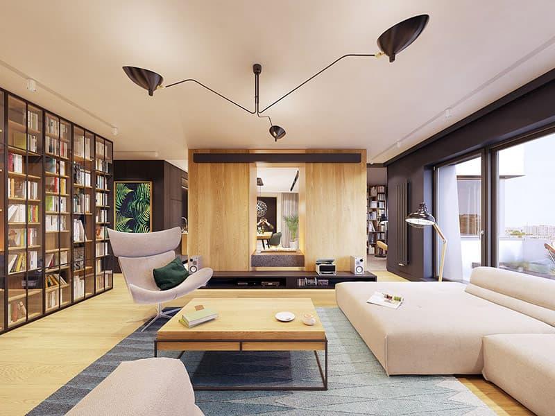 Một chiếc đèn trần 3 cánh màu đen, trải dài trên trần của phòng khách.