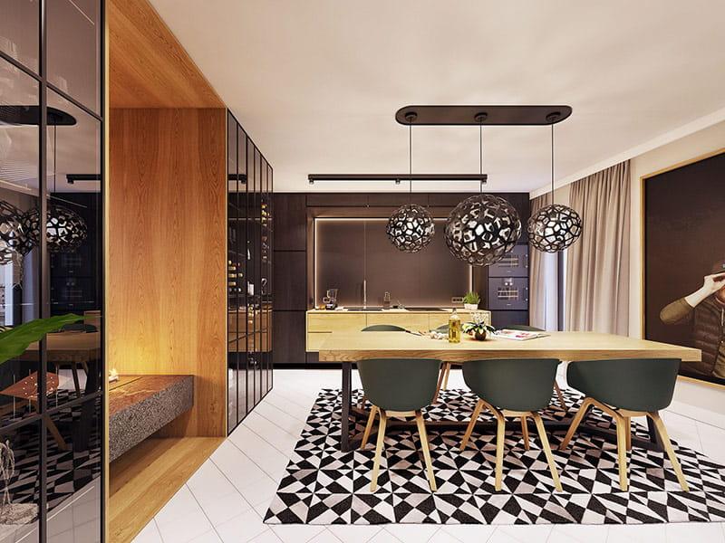 Nhờ diện tích rộng rãi mà phòng ăn có một vị trí trang trọng trong căn hộ.
