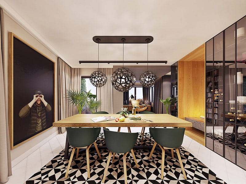 Chọn ghế ăn màu xanh lá cây là chủ nhân muốn tạo sự chuyển tiếp liền mạch giữa các chậu cây trang trí.