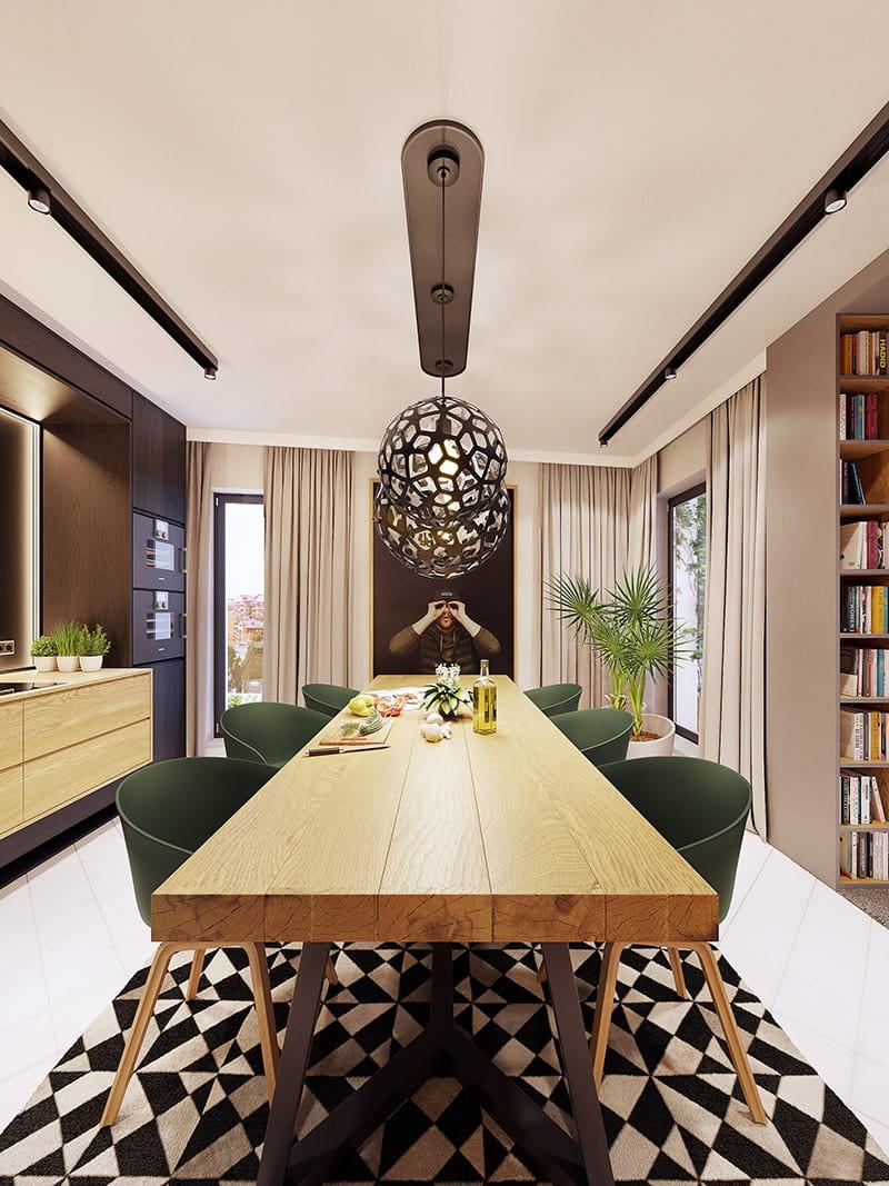 Thảm tách biệt khu vực bàn ăn với nhà bếp.