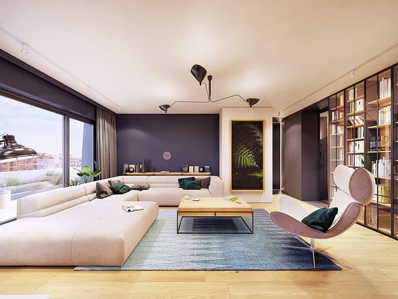 Ghế sofa lớn, thấp, không hạn chế tầm nhìn ra xung quanh.