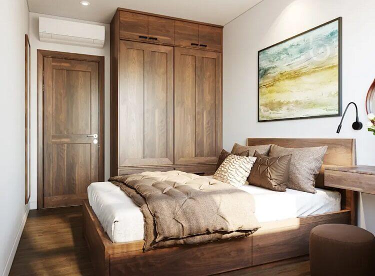 """Giới thiệu cách """"mix"""" gỗ đẹp vào thiết kế nội thất chung cư 2 phòng ngủ"""