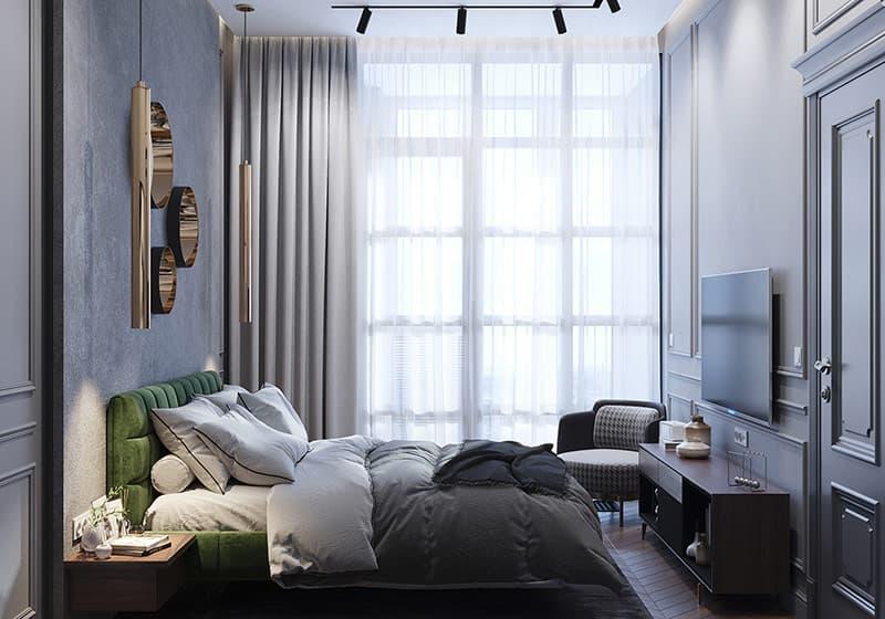 Rèm cửa phối màu, trải giường và thảm khu vực lặng lẽ hoàn thành phần còn lại của thiết kế phòng ngủ màu xám .