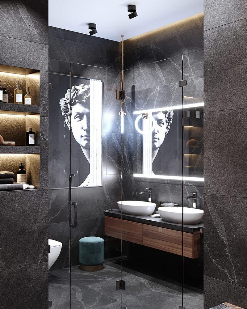 Với thiết kế gương cùng sự bổ sung của ánh sáng giúp không gian phòng tắm rộng lớn, thanh lịch và tinh tế.