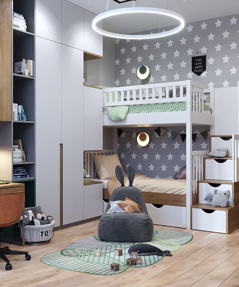 Thiết kế giường tầng tích hợp không gian lưu trữ giúp tiết kiệm diện tích cho căn phòng và dành phần lớn không gian cho trẻ vui chơi trong phòng.