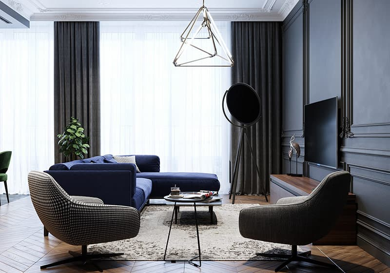Hai chiếc ghế làm điểm nhấn đương đại có các loại vải khác nhau. Sự khác biệt trong bọc giữ cho mắt di chuyển xung quanh sắp xếp phòng khách. Một bàn bên nhỏ thu hẹp khoảng cách giữa chúng.