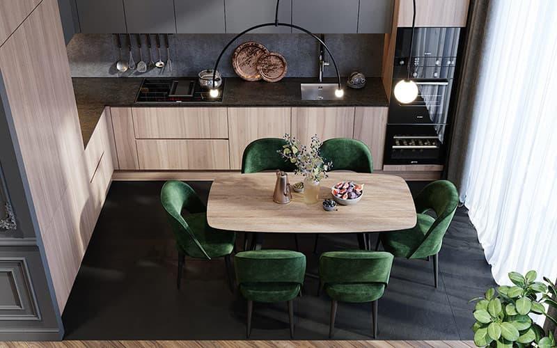 Khu vực bếp với màu đen sang trọng hiện đại cùng màu gỗ ấm áp. Một bình đựng kim loại theo phong cách truyền thống lấp lánh từ giữa bàn.