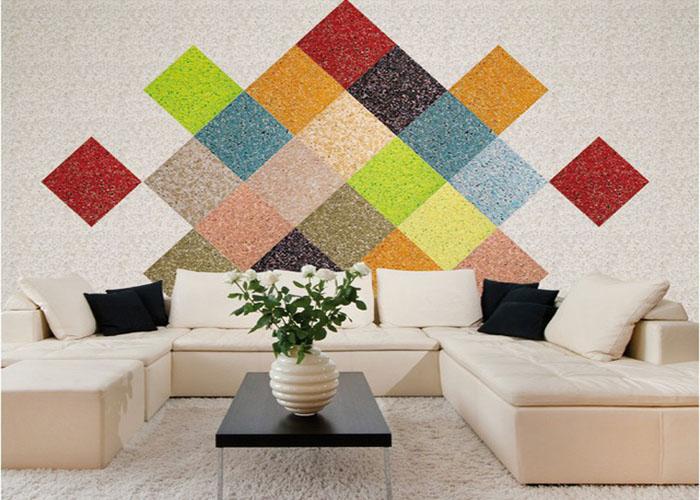 Trang trí tường bằng sơn họa tiết nhiều màu