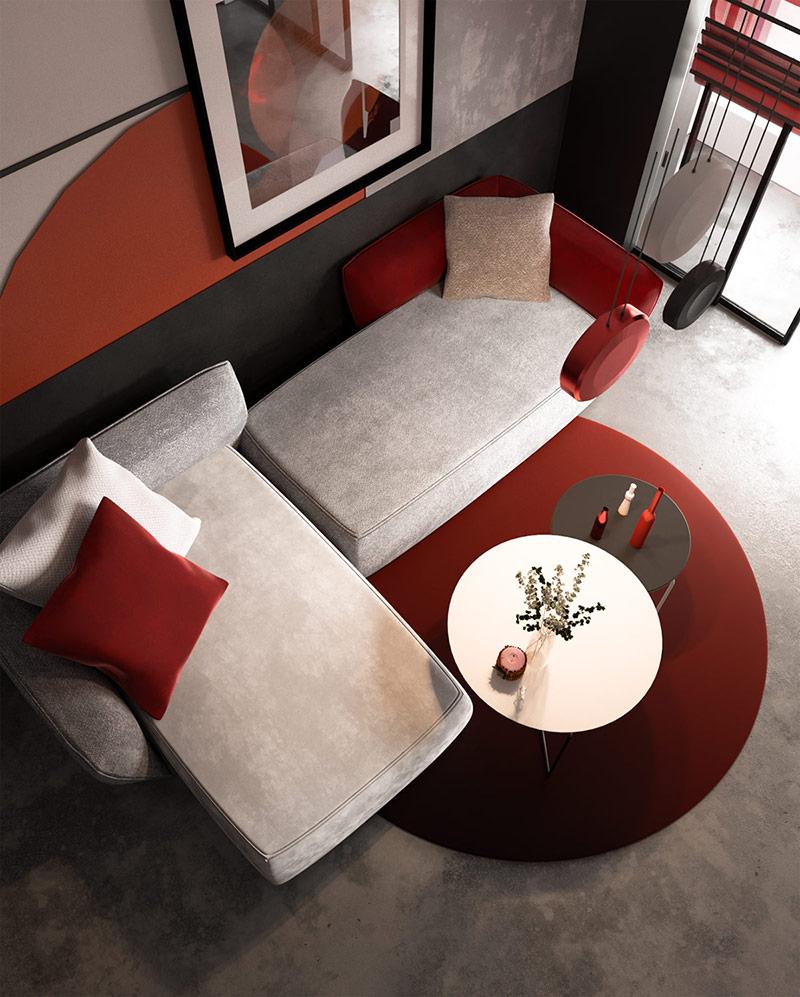 Các phác thảo tròn tạo ra một thiết kế nội thất sắc nét và đồ họa.