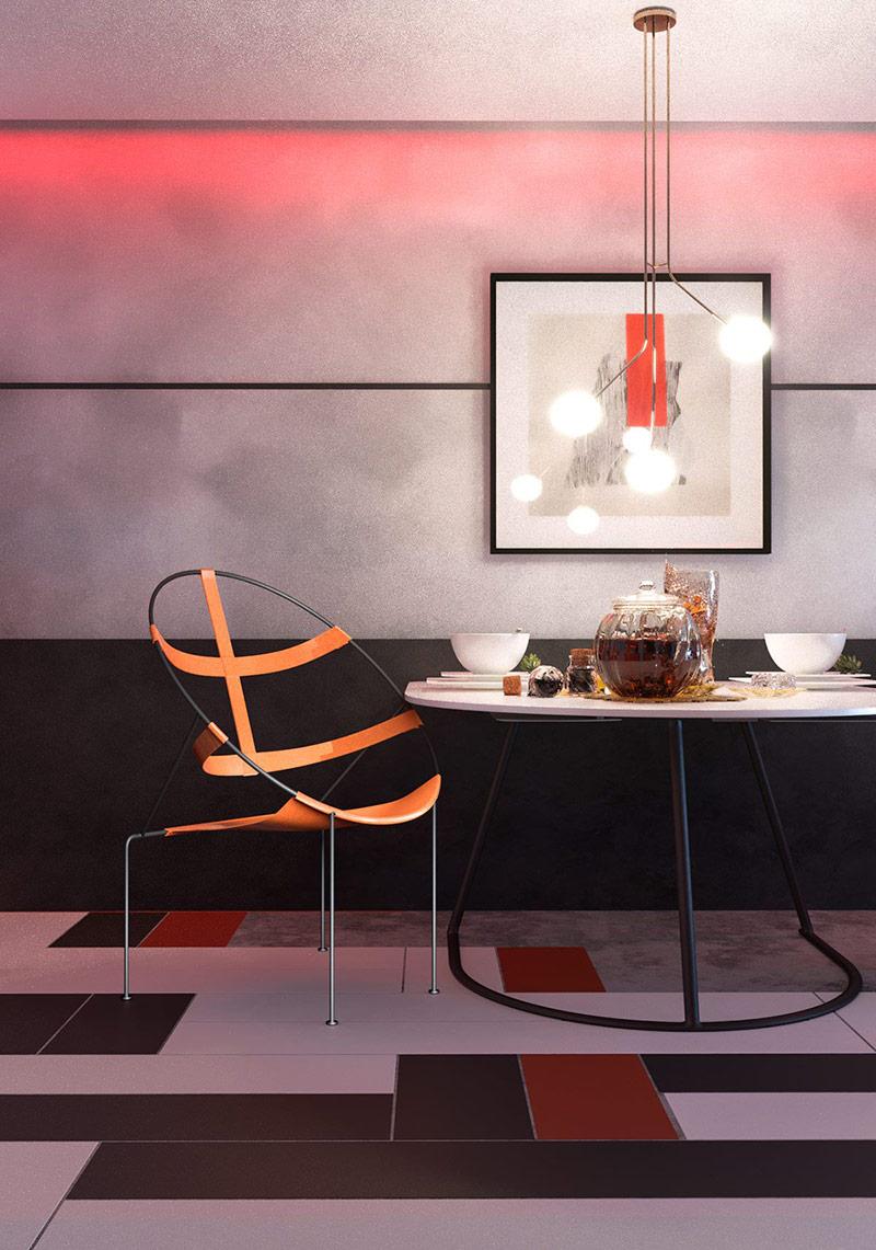 Ghế ăn và bàn ăn hiện đại theo chủ đề hình tròn của ngôi nhà.