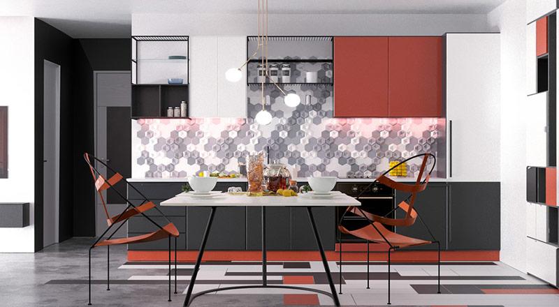Bên cạnh phòng ăn, tủ màu đỏ, đen và trắng tạo thành một bếp một bức tường. Gạch lục giác bao phủ các tường bếp bằng màu xám và trắng sạch.
