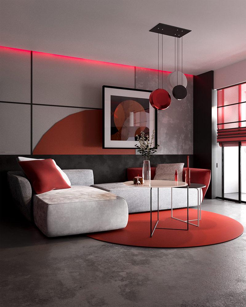 Bước vào phòng khách ấn tượng với đồ nội thất màu đỏ xám đơn giản những hiện đại và tinh tế.