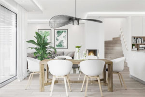 Không gian nhà đẹp với phong cách trang trí độc đáo trên nền màu trắng