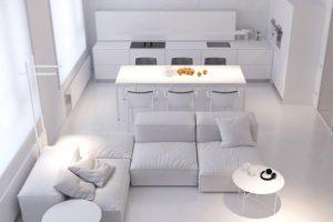 Không gian nhà đẹp: căn hộ màu trắng tối giản với ánh sáng và kết cấu sáng tạo
