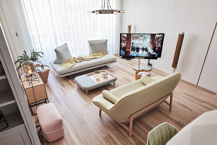 Những gam màu mang đến sự an yên cho thiết kế nội thất chung cư 45m2