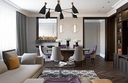 Thiết kế nội thất nhà 80m2 xa hoa với phong cách Art Nouveau