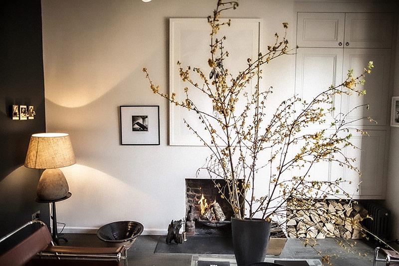Trong không gian phòng khách, chủ nhà khéo léo bài trí thêm cành mai vàng. Điều này càng làm cho không gian phòng khách muôn phần sáng sủa bên cạnh lò sưởi ấm cúng.