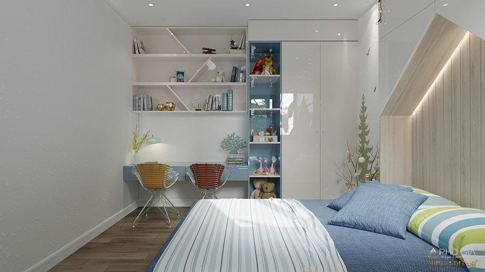 thiết kế nội thất phòng ngủ bé căn hộ golvew quận 4 hcm
