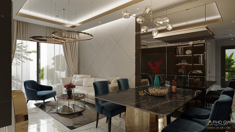 thiết kế nội thất phòng khách căn hộ golvew quận 4 hcm