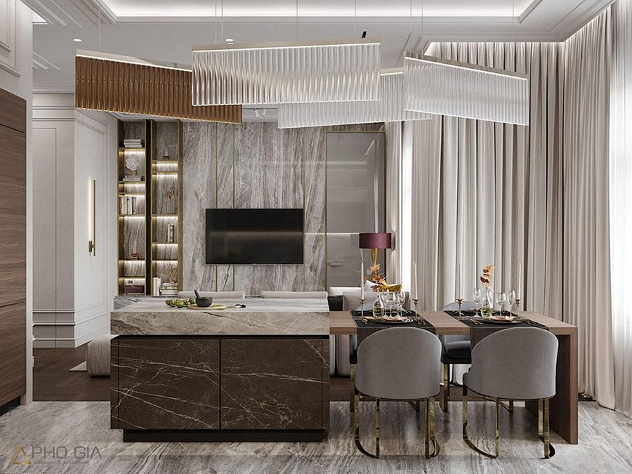 Căn hộ Penthouse được thi công hoàn thiện thể hiện gu thẩm mỹ của gia chủ.