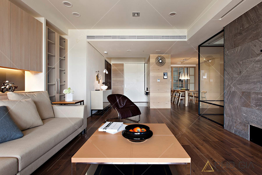 Chất liệu gỗ và gam màu trắng được kết hợp tạo nên không gian hiện đại trong thiết kế nội thất Penthouse Tropic Garden.