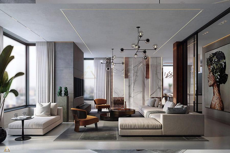 thiết kế nội thất Penthouse phong cách hiện