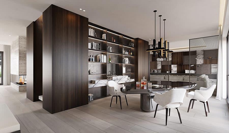Gỗ Óc Chó được dùng ốp tường trong thiết kế nội thất Penthouse khiến không gian trở nên ấm cúng và sang trọng.