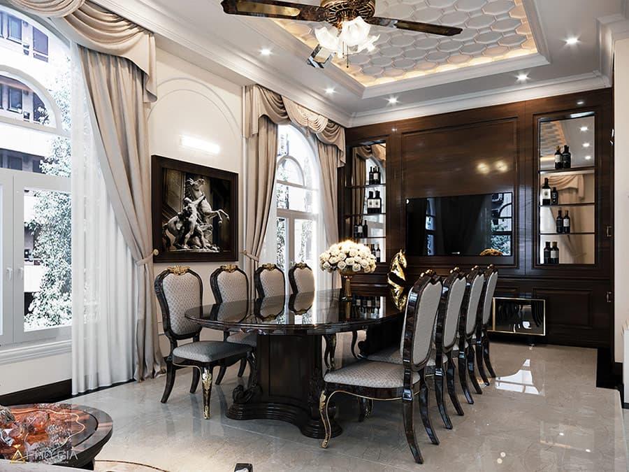 Thiết kế nội thất Village verosa khang điền với những hoa văn mềm mại theo hơi hướng cổ thiết kế cổ điển.