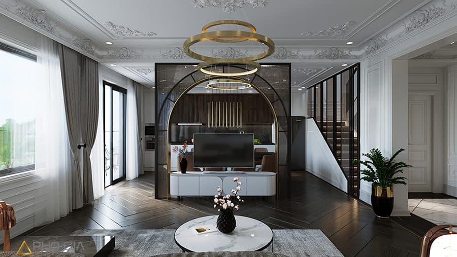 Thiết kế nội thất Village theo phong cách tân cổ điển thường ứng dụng các gam màu trung tính