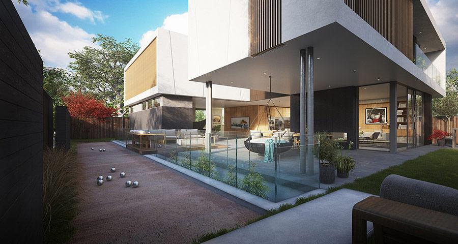 Khoảng sân có mái che cùng cửa kính trượt tạo nên sự kết nối nhịp nhàng giữa không gian bên trong và thiên nhiên.