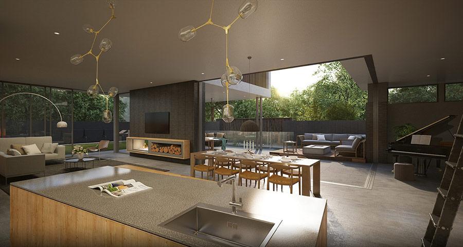 Đèn chùm Lindsey Adelman và đèn sàn Arco là điểm nhấn nâng tầm sự sang trọng của ngôi nhà.