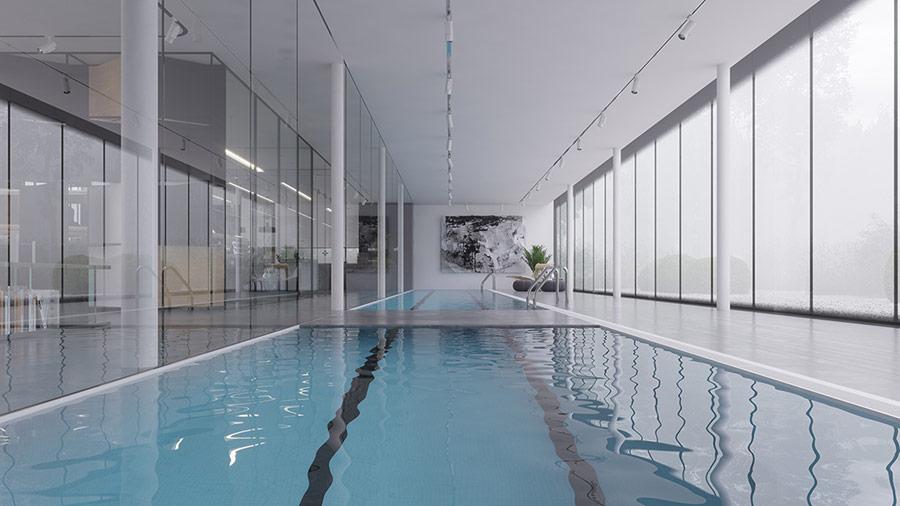 Hồ bơi trải dọc ngôi nhà càng làm tăng thêm giá trị độc đáo trong gu thẩm mỹ của gia chủ.
