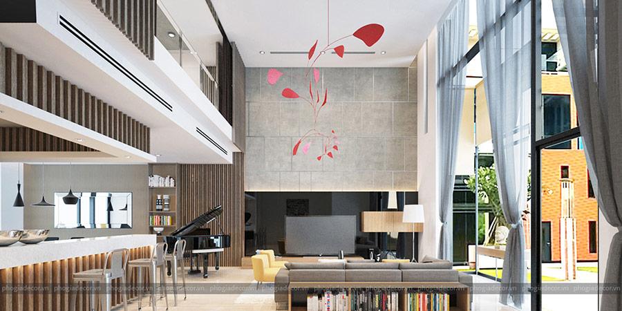 Thiết kế thông tầng mở ra sự kết nối giữa căn nhà với thiên nhiên.