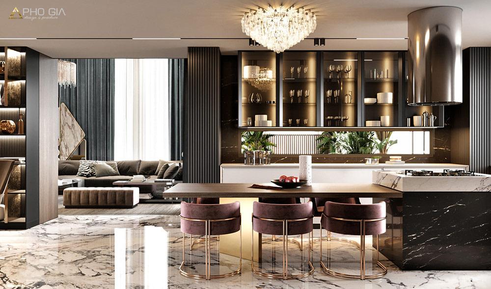 Phòng khách được thiết kế tinh tế, sang trọng