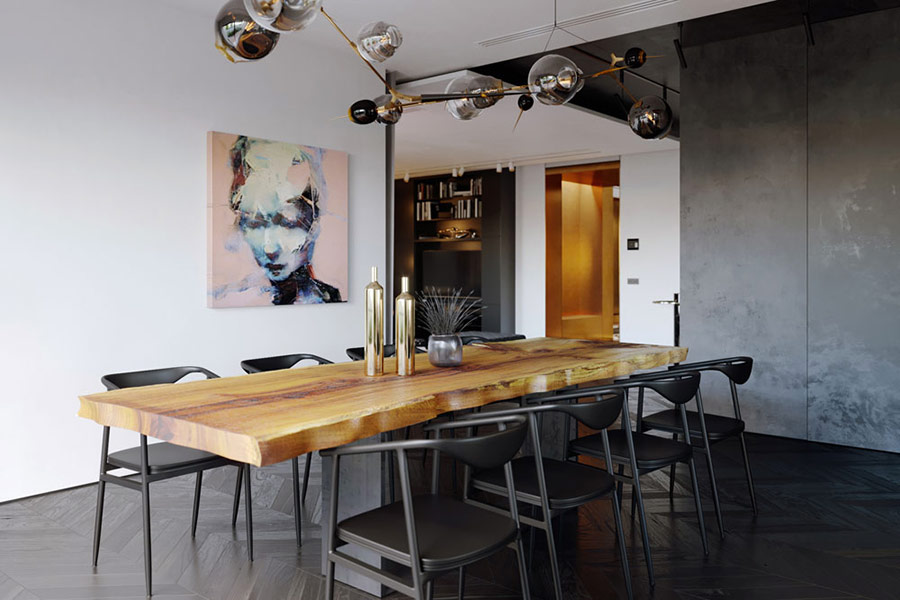 Thành quả ấn tượng từ gỗ tự nhiên và thép trong thi công phòng bếp Village Galleria