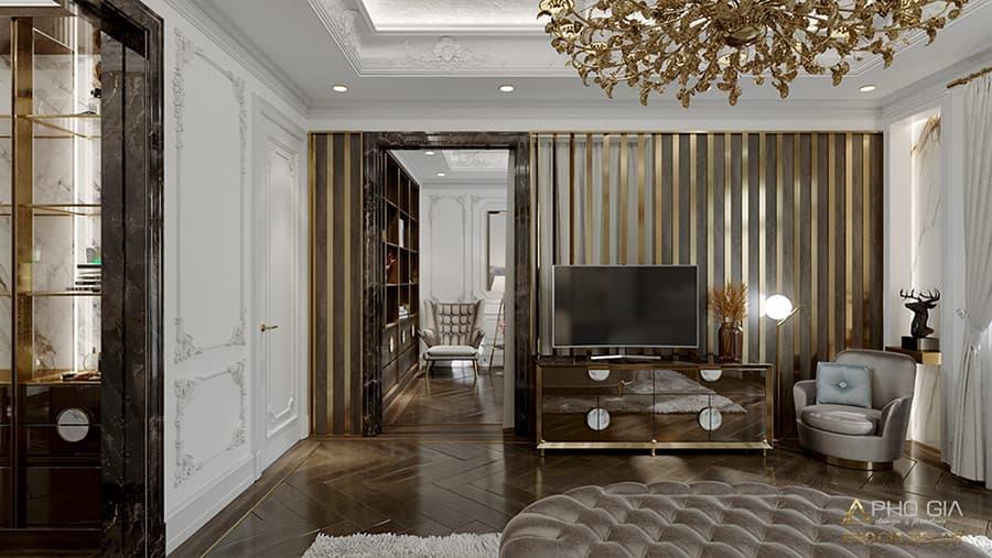 Gỗ acrylic kết hợp chất liệu gold tạo nên nét sang trọng cho không gian tân cổ điển