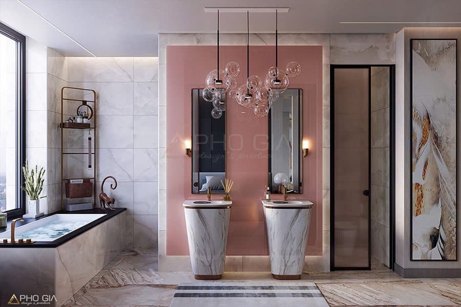 Kết hợp đá trong thiết kế nội thất phòng tắm vừa đủ để đảm bảo an toàn